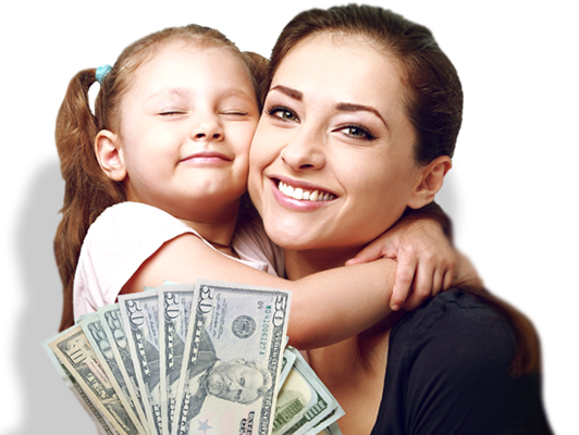 Mother and Child with money from Cash Advance Orlando