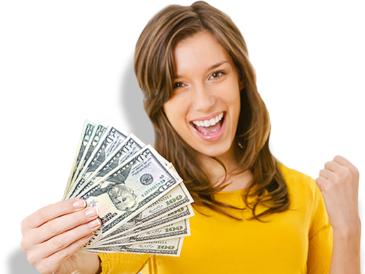 Woman with money from Pay Day Loans